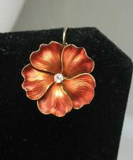 Pansy Diamond Enamel Pendant Flower Necklace 14K Gold Victorian Art Deco c1900
