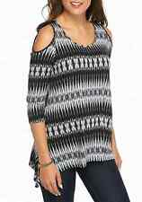 NWT FEVER BLACK WHITE COLD SHOULDER RAYON TOP BLOUSE SIZE L $58