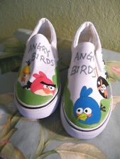 BUXP off the wall ANGRY BIRD HAND PAINTED SLIP ON SNEAKER NWOT SZ 40=9 UNISEX