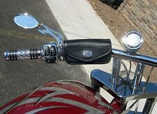 Leather Motorcycle handlebar pouch with bracket for Harley Davidson