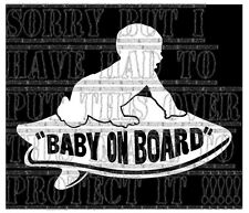 Baby on board BOYS VANS Surfboard surfer surfing sticker vinyl sign white decal
