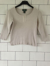 WOMEN'S RALPH LAUREN URBAN VINTAGE RETRO 3/4 SLEEVE JUMPER SWEATER SMALL PETITE