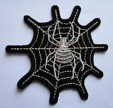 BEAUTIFUL SILVER WIDOW SPIDER WEB Embroidered Iron on Patch Free Postage