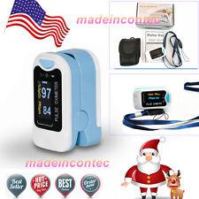 Pulse Oximeter Fingertip CMS50N Blood Oxygen SpO2 Monitor Sky Blue SPO2,PR USA