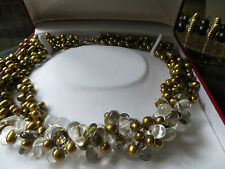 gold bronze pearl/crystal Necklace, choker/5 rows/ocktails, weddings, 21 ins