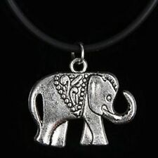 Elephant Choker Necklace Tibetan Silver Pendant Charm Black Leather Cord Lucky