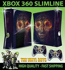 XBOX 360 SLIM STICKER ABSTRACT SKULL WIRE DARK STYLE SKIN & CONTROLLER PAD SKIN