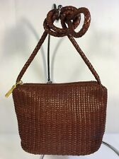 STONE MOUNTAIN Leather BROWN Crossbody WOVEN Top Zipper Shoulder Hand Bag