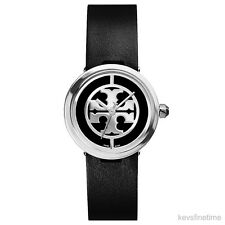 New with tag Tory Burch Women 28mm Reva Black Strap Watch TRB4002