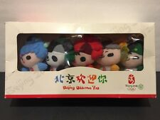 NEW IN BOX Complete Set of 5 Plush Keychain 2008 China Beijing Olympic Mascots!