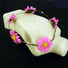Pink Daisy Headband Hippy Boho Gig Festival Hair Garland Pink & Yellow Flower