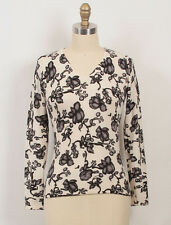 Saks Fifth Avenue Cream Black Gray Floral 100% Cashmere Knit Top Sweater XS 2/4