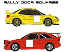 COLORED 2x RACE RALLY CAR DOOR SQUARES, VINYL NUMBER BACKGROUND STICKERS
