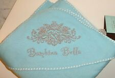"Hooded Baby Blanket,Eco-Friendly Fiber Blend,34""x34"",Lt. Aqua, Silver Embroidery"