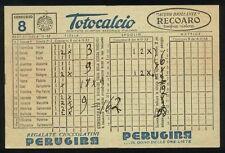 Schedina TOTOCALCIO n. 8 del 6 - 11 - 1955 - Pubblicità PERUGINA Acqua RECOARO