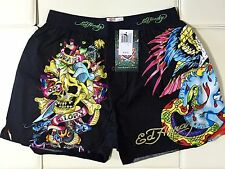 MENS ED HARDY Black BOXER BRIEF SIZE XL Skull Snake New York Print UnderWear