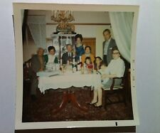 Vintage 70s PHOTO Filipino Family Gathering Around Dinner Table Oriental Rug