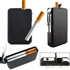 Automatic Wind Proof Lighter Pocket Ejection Butane Cigarette Case Box Alert