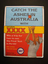 1990 Beer Coaster Bar Mat ~ CASTLEMAINE XXXX Lager ~ AUSTRALIA Ashes Competition
