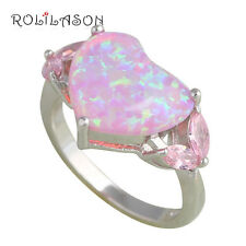 OR631#6 Love Heart Design Pink Fire Opal Silver Stamped Beautiful Fashion Rings