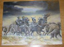 REALISM ICELANDIC HORSE FARMER COWBOY SCOTCH CATTLE STORM WEATHER WIND PAINTING