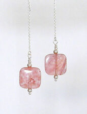CHERRY QUARTZ FLAT SQUARES, STERLING SILVER Ear Threads Threaders Earrings