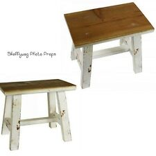 Studio Distressed Vintage Antique Timber Stool Child Photography Photo Prop Seat