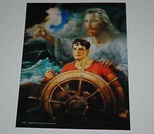 Warner Sallman CHRIST OUR PILOT - Jesus, Young Man on Boat in Storm - 5x7 print