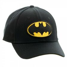 DC COMICS BATMAN FLEX FIT HAT CAP STRETCH SOLID BLACK YELLOW LOGO CURVED BILL