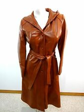VTG KAUFMAN BROS WOMENS BROWN LEATHER HOODED COAT SIZE S
