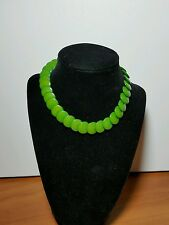"Vintage Celluloid Green Flat Disc Bead Necklace, 14"",  34 beads"