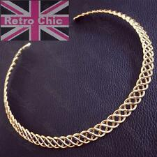 OPEN WEAVE metal plait COLLAR NECKLACE choker GOLD FASHION boho CELTIC plaited