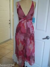 BN BC BG SZ S PINK MULTI OPEN BACK SLEEVELESS HANDKERCHIEF HEM DRESS RET $475.00