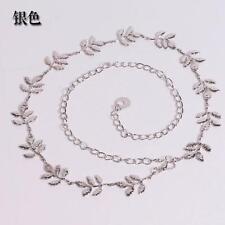 Fashion Womens Modern Metal Leaves Belt Alloy Leaf Waist Belts Chain Accessories