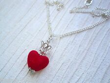 THE QUEEN OF HEARTS CROWN CHARM NECKLACE Red Velvet Heart Alice in Wonderland