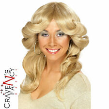 70's 80's Flick Wig Charlies Angels Farah Fawcett Blonde wig fancy dress costume