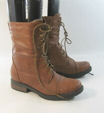 "TAN 1.5"" low block heel Lace up round toe sexy ankle Winter boot Size  7"