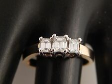 Three Stone Emerald Cut Diamond Engagement Ring 14k YG .82 tcw H/VVS2 Designer