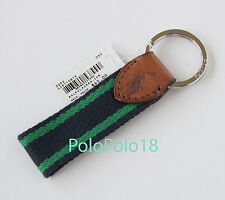 New Polo Ralph Lauren Pony Key Chain Holder Leather Canvas Green