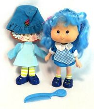 "Strawberry Shortcake Blueberry Muffin 5.5"" Doll THQ '91 With Extra Outfit & Comb"