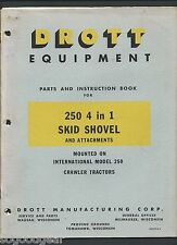 DROTT 250 SKID SHOVEL IH 25 CRAWLER TRACTOR PARTS INSTRUCTION BOOK