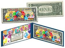 HAPPY BIRTHDAY Keepsake Gift Colorized $1 Bill US Legal Tender with Folio & COA