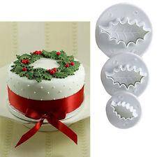 3pcs Holy Leaf Fondant Cake Cupcake Sugarcraft Cutters Sugarcraft Mould Tools #T