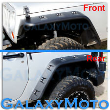 Jeep JK Wrangler Paintable Black Front+Rear Pocket Style+Rivet Fender Flares
