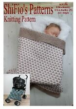KNITTING PATTERN for BABY BUGGY BLANKET STROLLER AFGHAN  #236 by ShiFio
