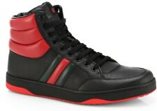 GUCCI Mens Sneakers Black & Red Gucci WEB leather High Top Authentic