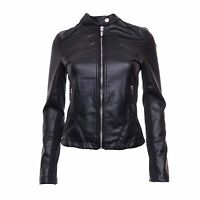 Women's Black Leather Look PU and Jersey Biker Jacket with Round Neck Brave Soul