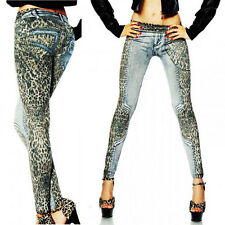 New Womens Girls DENIM Look Jeggings Jeans Stockings Leopard Printed Tights