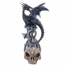 Dark Stone Mystic Dragon Perched On Skull Head Crystal Rhinestone Rock Statue