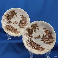 """Johnson Brothers The Old Mill Saucers Set of 2 Brown w Multicolor  5-5/8"""""""
